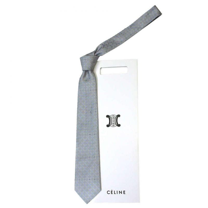 Серо-голубой шёлковый галстук Celine с узором