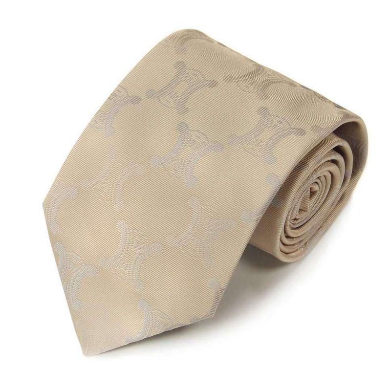 Бежевый шёлковый галстук с большими логотипами Celine