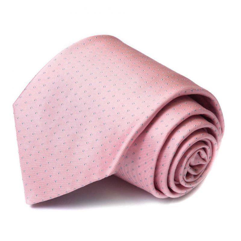 Розовый шёлковый галстук Celine в горошек