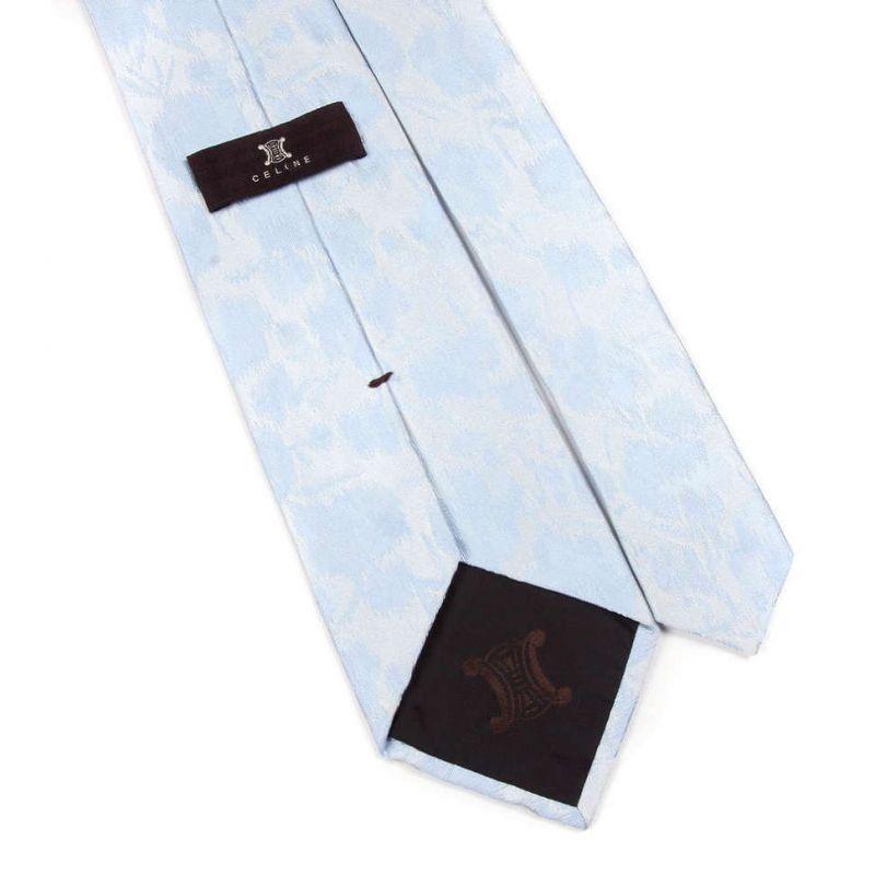 Бледно-голубой шёлковый галстук Celine с абстрактным узором