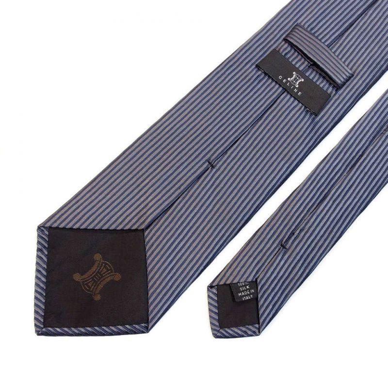 Серый шёлковый галстук Celine в полоску