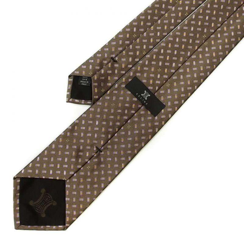 Коричневый шёлковый галстук Celine с сиреневыми прямоугольниками