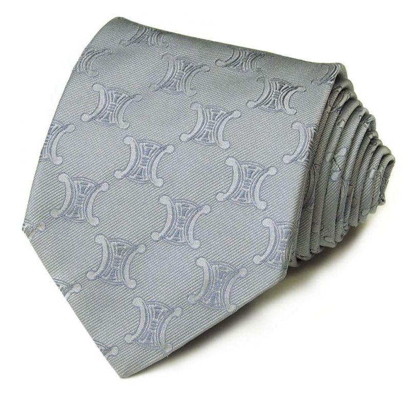 Серый шёлковый галстук с крупными логотипами Celine