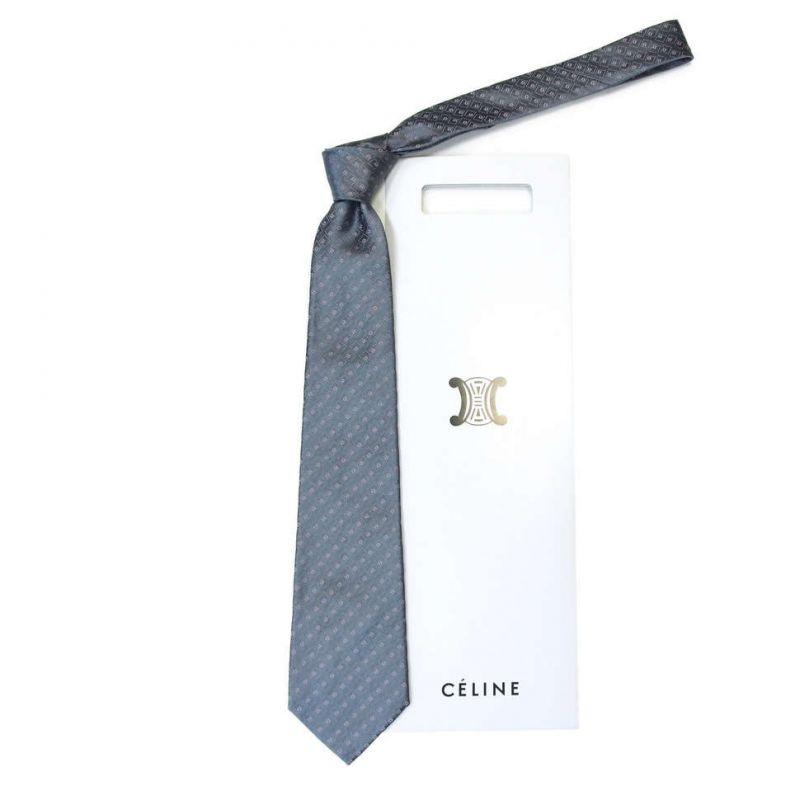 Сине-серый шёлковый галстук Celine жаккардовое плетение