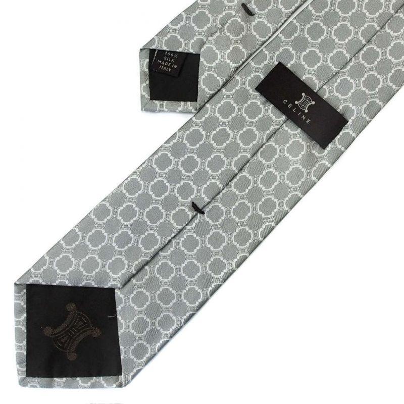 Серый шёлковый галстук Celine с зелёным отливом