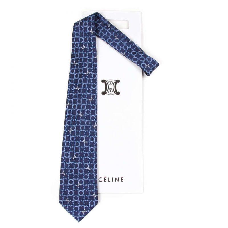 Синий шёлковый галстук Celine с динамичным узором