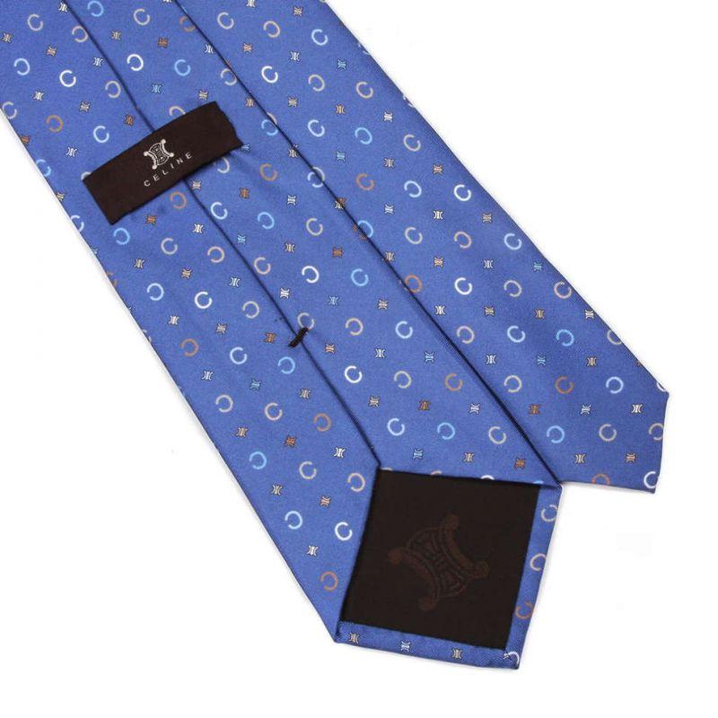 Синий шёлковый галстук Celine с печатным рисунком