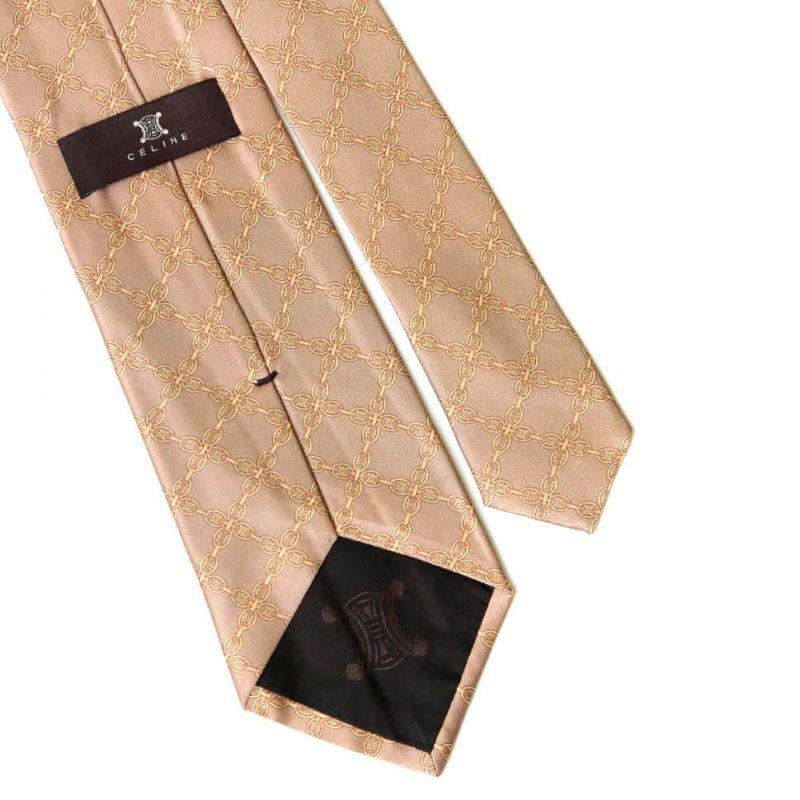 Бронзовый шёлковый галстук Celine с печатным рисунком