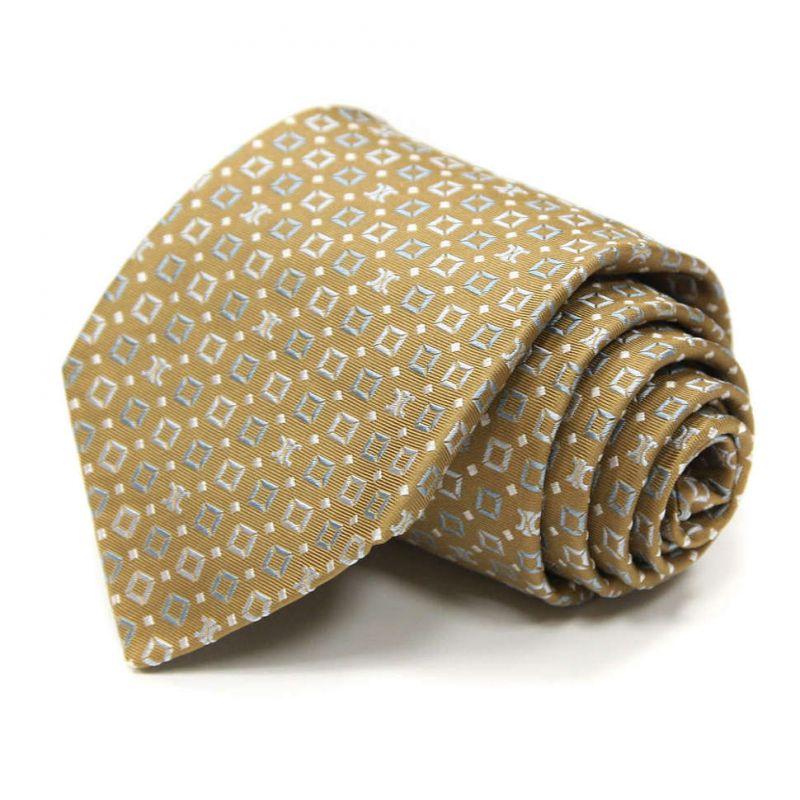 Тёмно-жёлтый с клеточками галстук Celine из шёлка