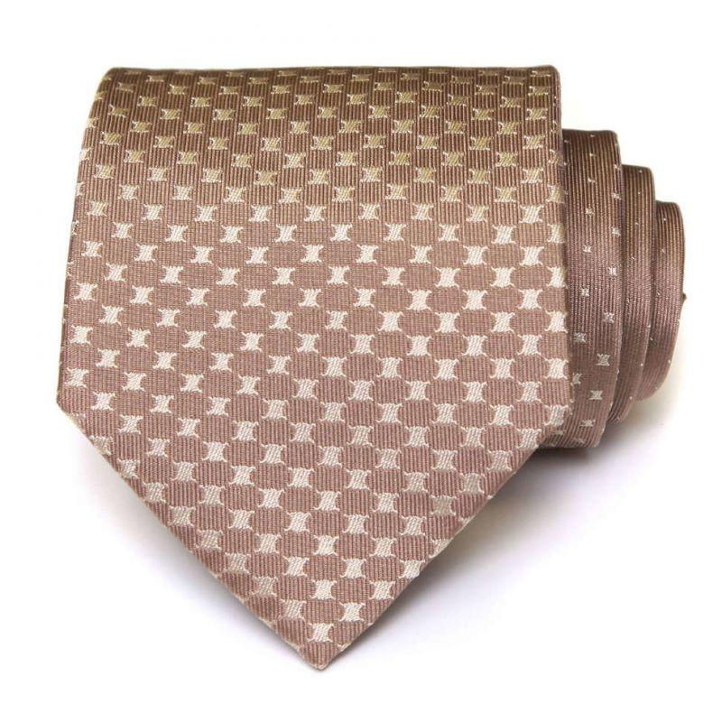 Светло-коричневый галстук с логотипами Celine из шёлка