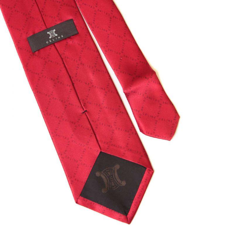Красный галстук с надписями Celine из шёлка
