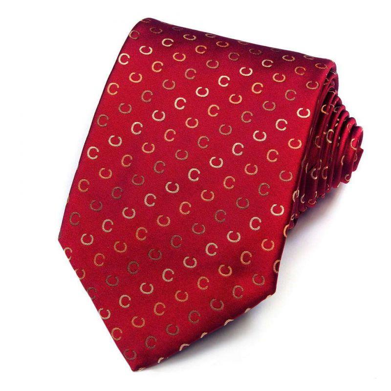 Красный шёлковый галстук со знаками бренда Celine