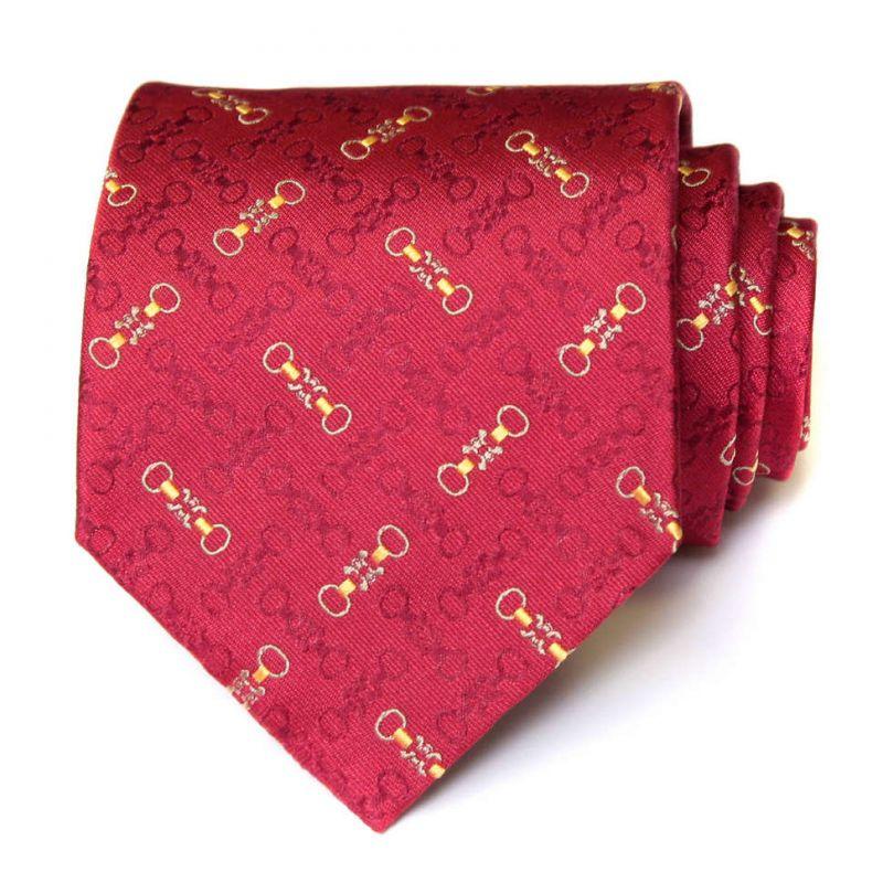 Красный шёлковый галстук Celine с рисунком