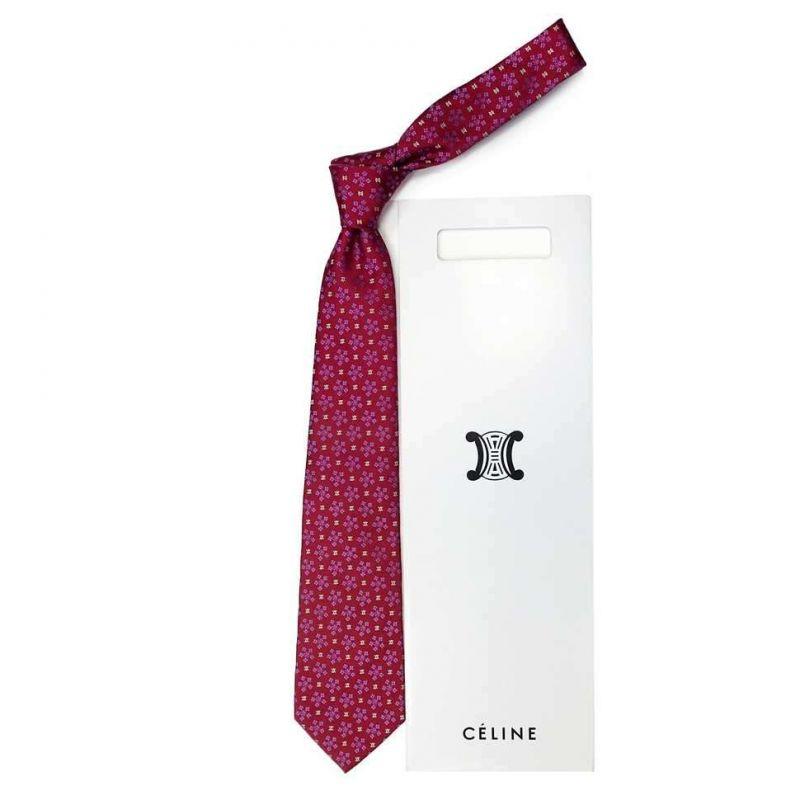 Красный шёлковый галстук Celine со снежинками