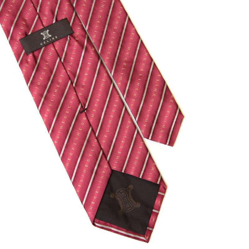 Лиловый шёлковый галстук Celine в полоску