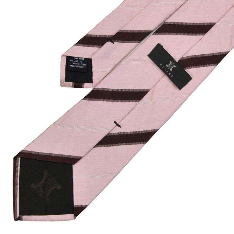 Розовый шёлковый галстук Celine с коричневую полоску