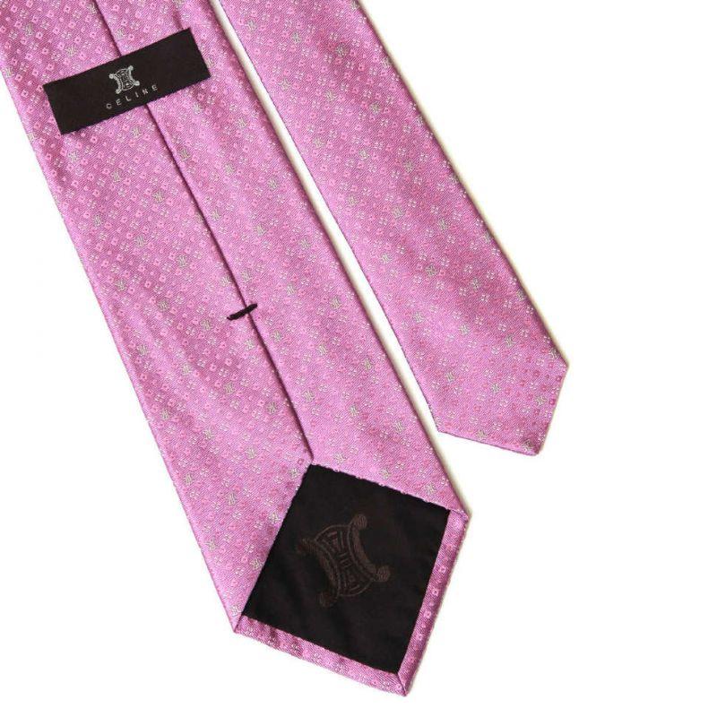 Розовый шёлковый галстук Celine с мелким принтом