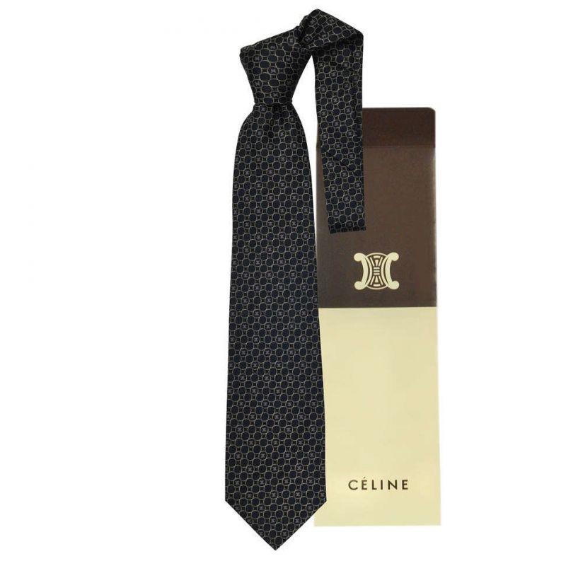Чёрный шёлковый галстук Celine с кольцами
