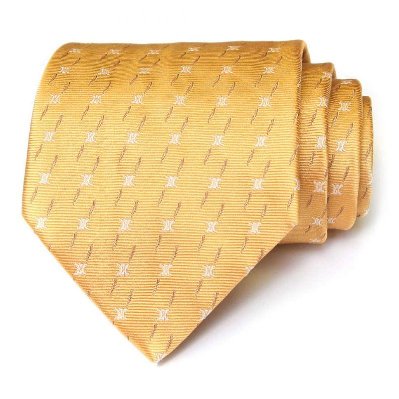 Золотистый шёлковый галстук Celine с чёрточками
