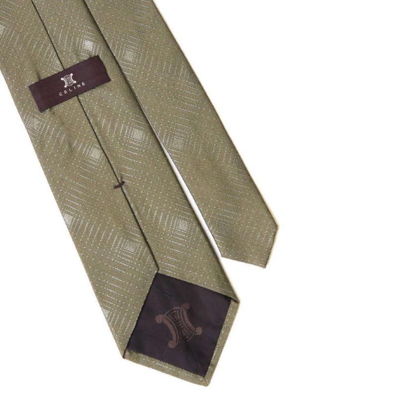 Серо-зелёный шёлковый галстук Celine с линиями