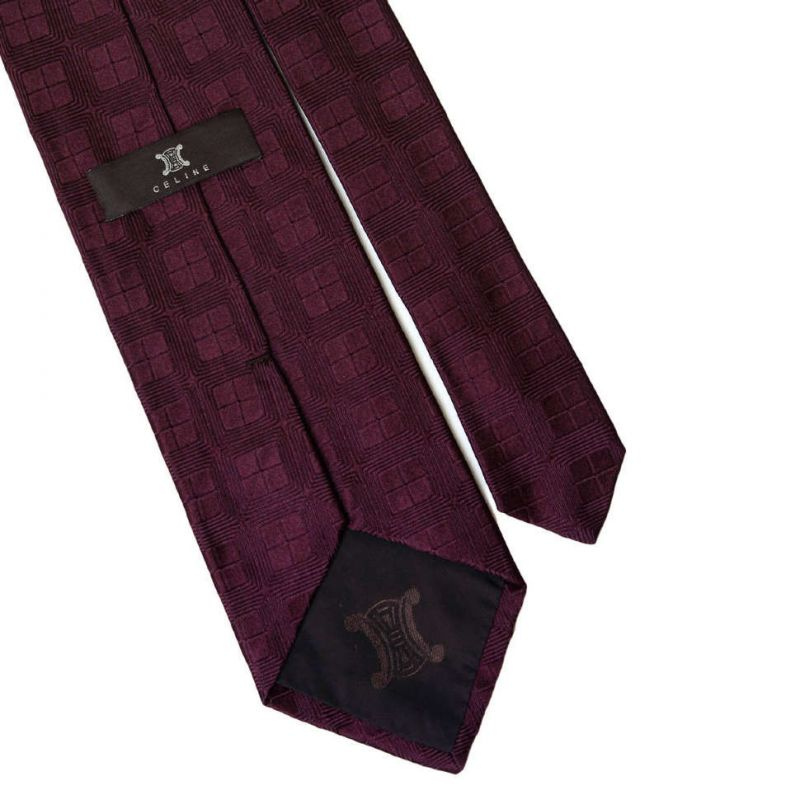 Винного цвета шёлковый галстук Celine в клетку