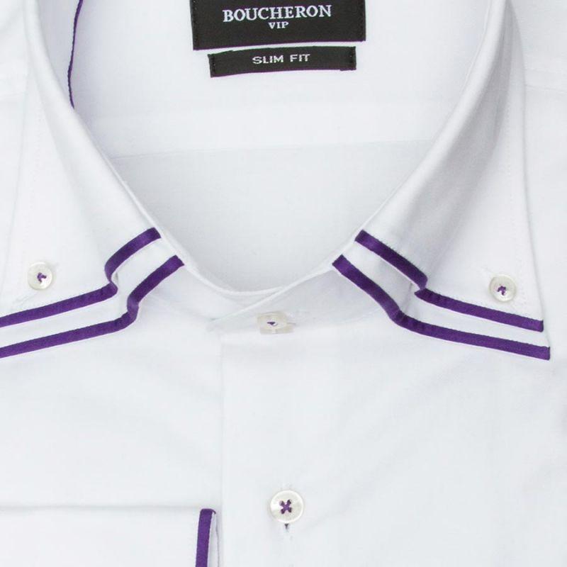 Рубашка белая, с двойным воротником, приталенная