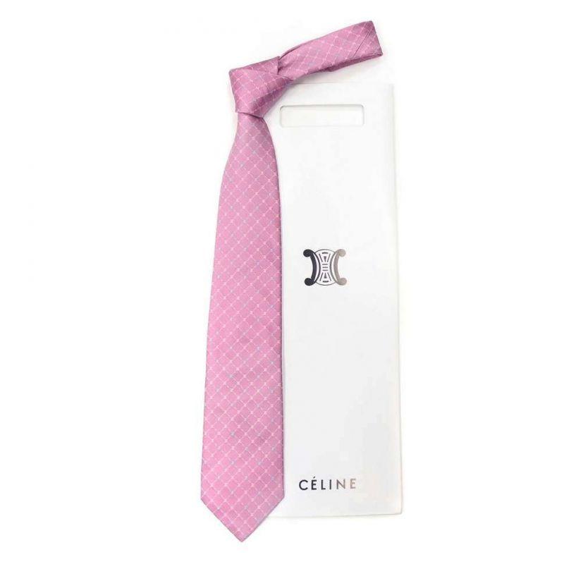 Розовый шёлковый галстук Celine в ромбик