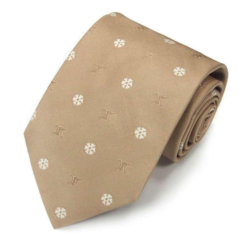 Бежевый шёлковый галстук Celine с цветочками