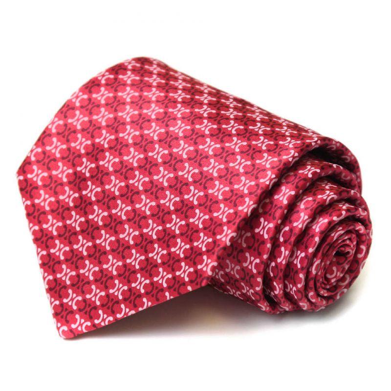 Красный шёлковый галстук с узором из логотипов Celine