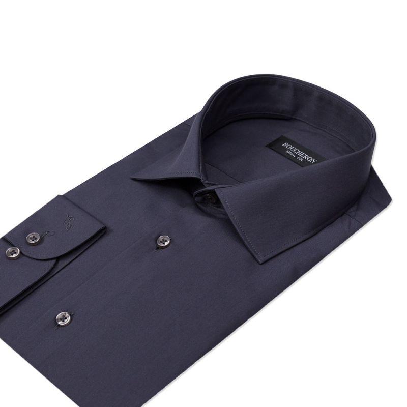 Рубашка чёрная, однотонная, приталенная
