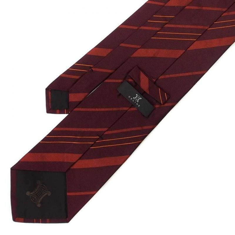 Бордовый шёлковый галстук в полоску Celine