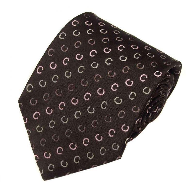 Коричневый шёлковый галстук Celine с буквами