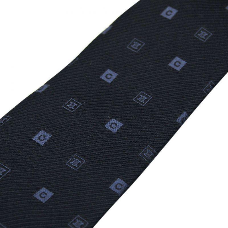 Тёмно-синий шёлковый галстук Celine в клетку
