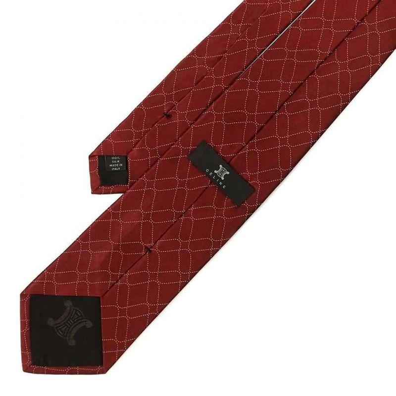 Терракотовый шёлковый галстук Celine с узором из линий