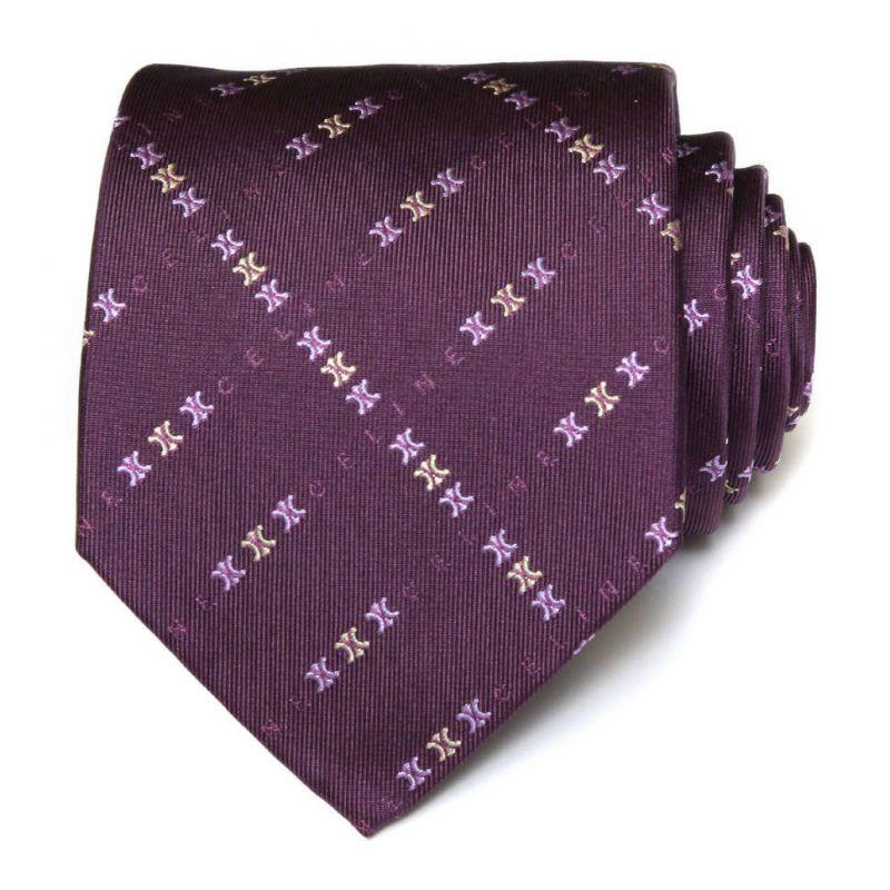 Фиолетовый шёлковый галстук с логотипами Celine