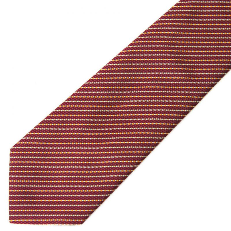 Бордовый шёлковый галстук Celine в полоску