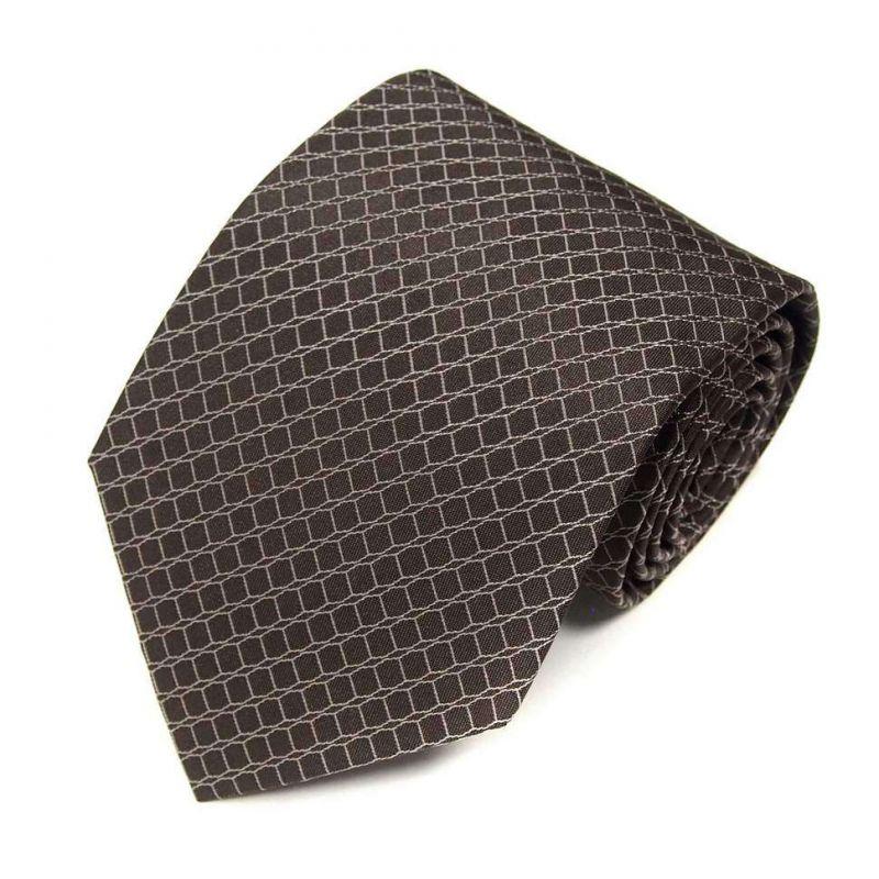 Тёмно-коричневый шёлковый галстук Celine в сетку
