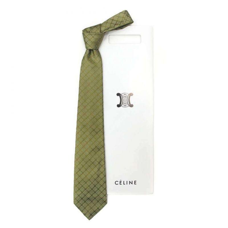 Зелёный шёлковый галстук Celine с выделкой