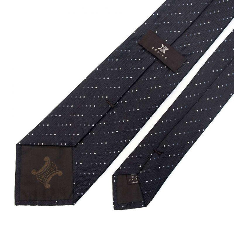 Чёрный шёлковый галстук Celine в горошек
