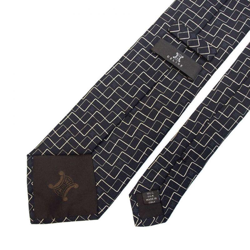Чёрный шёлковый галстук Celine с абстрактными линиями