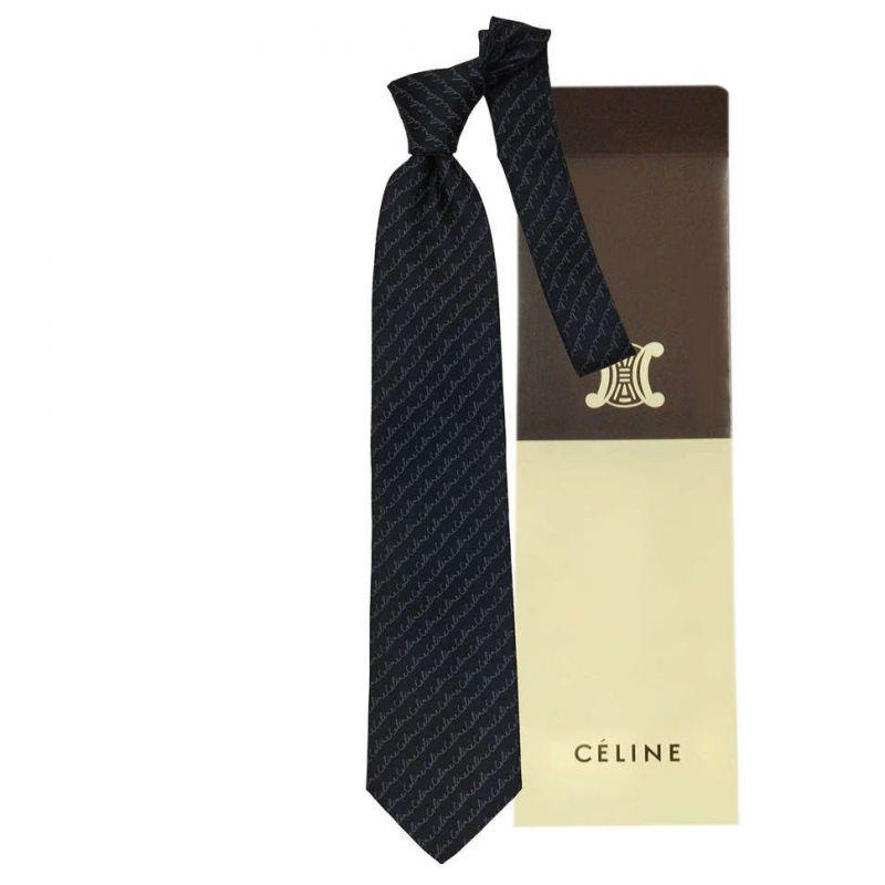 Чёрный шёлковый галстук с надписями Celine