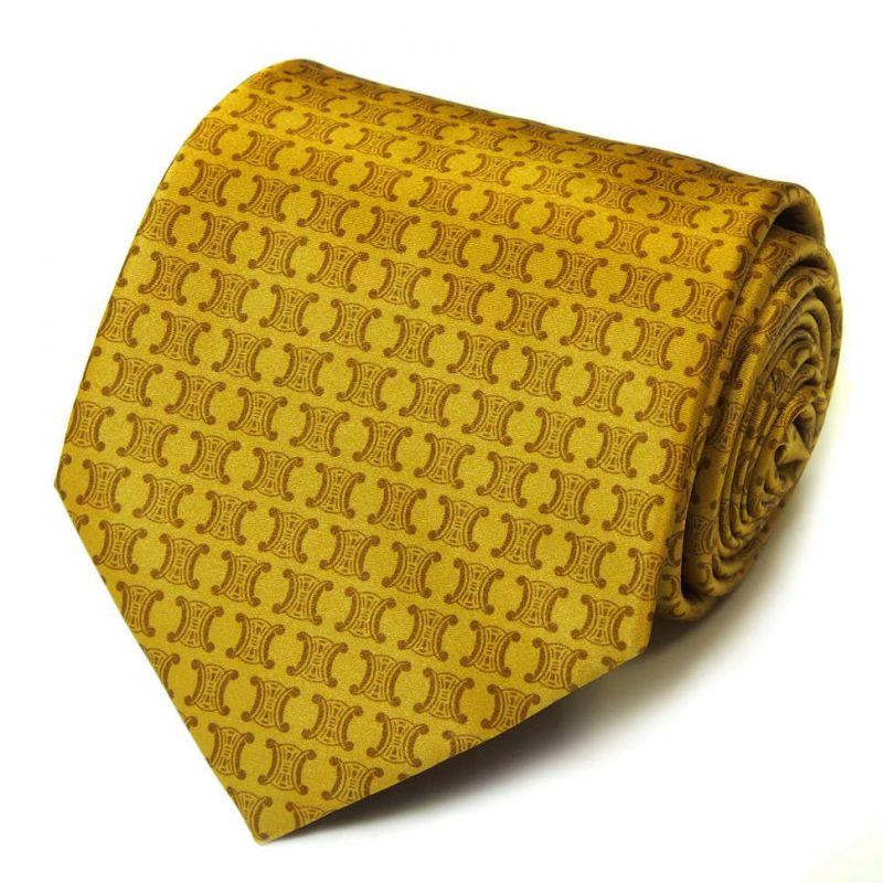 Жёлтый шёлковый галстук с логотипами Celine