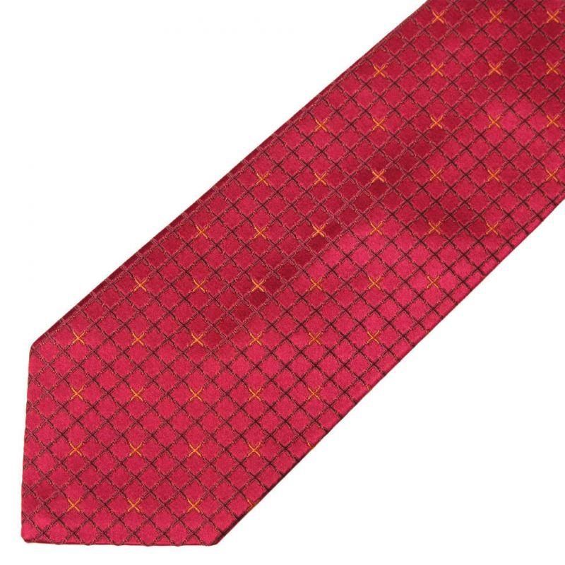 Вишнёвый шёлковый галстук Celine в клетку