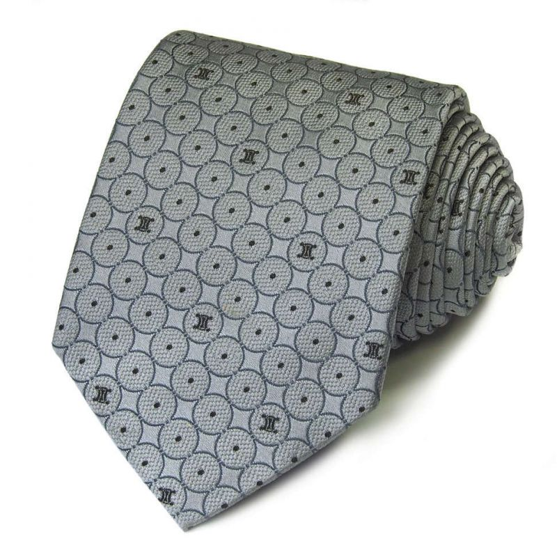 Серый шёлковый галстук Celine в кружок