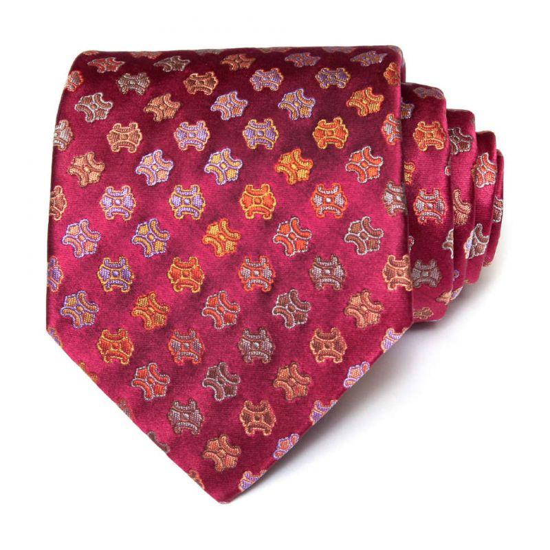 Красный шёлковый галстук с логотипами Celine