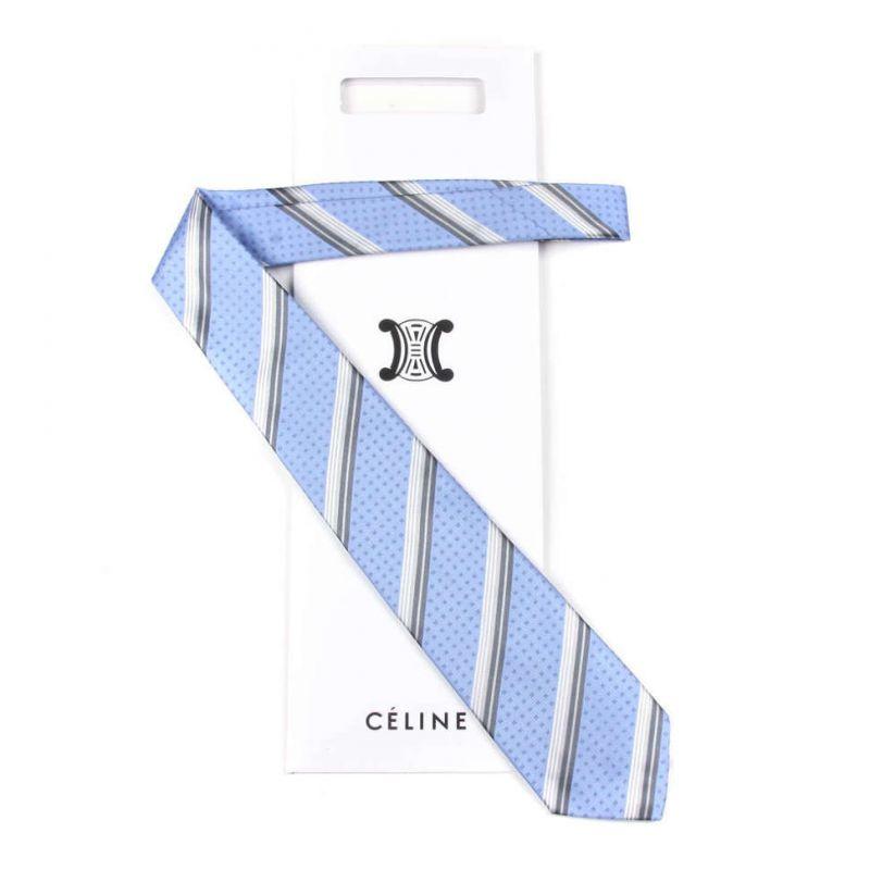 Голубой шёлковый галстук Celine с серую полоску