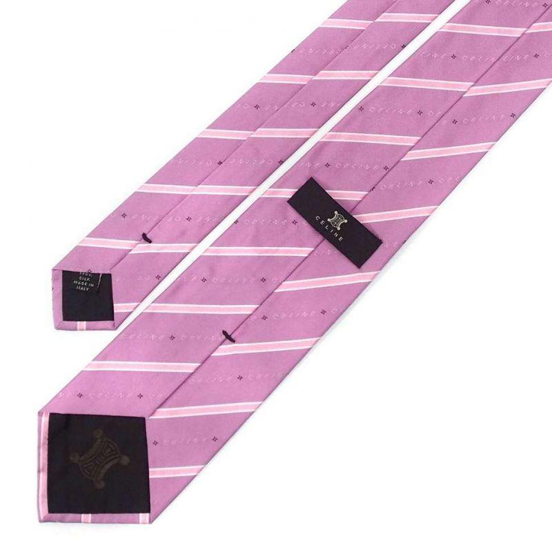 Розовый шёлковый галстук Celine в тонкую полоску