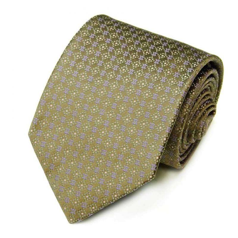 Зелёный шёлковый галстук Celine с мелким рисунком