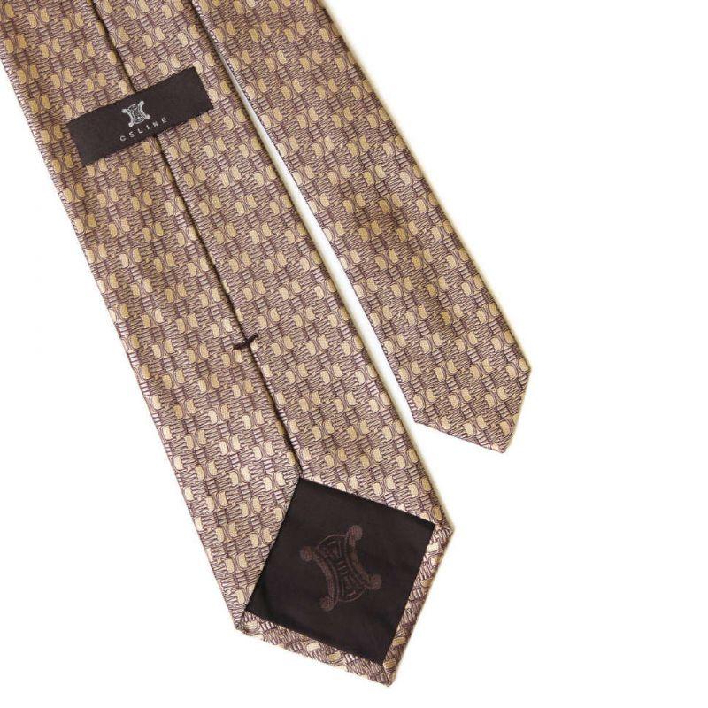 Бронзовый шёлковый галстук Celine с жаккардовым плетением
