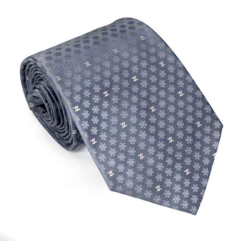 Серый шёлковый галстук Celine со снежинками